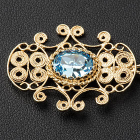 Cope Clasp in silver 800 filigree with blue stone s2
