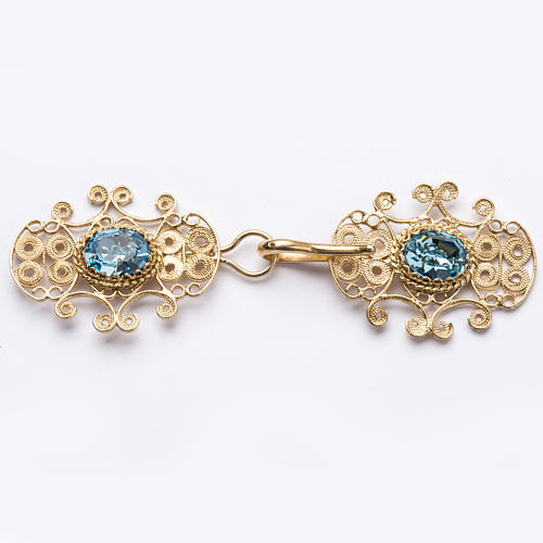 Cope Clasp in silver 800 filigree with blue stone 1