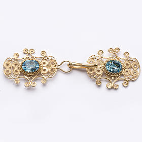 Broche dorado para pluvial plata 800 piedra azul s1