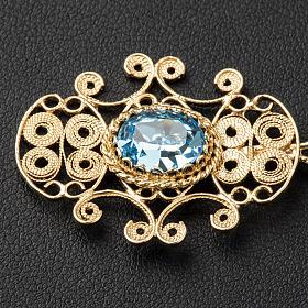 Broche dorado para pluvial plata 800 piedra azul s2