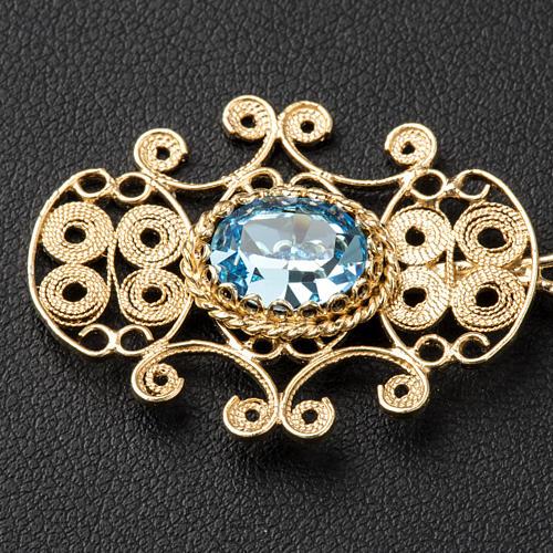 Broche dorado para pluvial plata 800 piedra azul 2