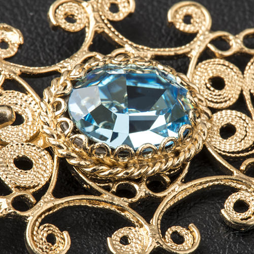 Broche dorado para pluvial plata 800 piedra azul 4