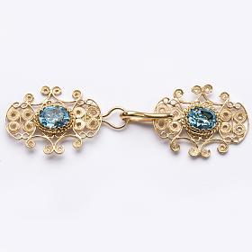 Accroches de chape filigrane argent 800 pierrse bleu cierl s1