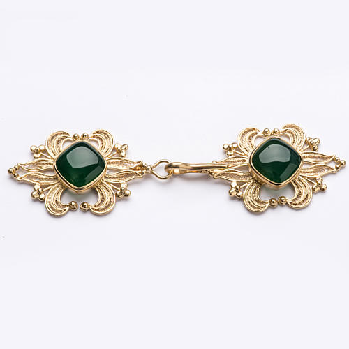 Cope Clasp in golden silver 800 filigree with green Agate 1