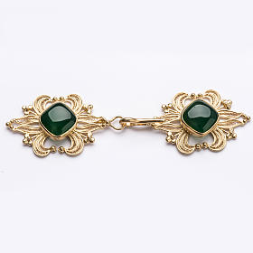Broche dorado pluvial piedra ágata verde plata 800 s1