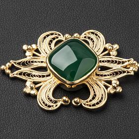 Broche dorado pluvial piedra ágata verde plata 800 s2