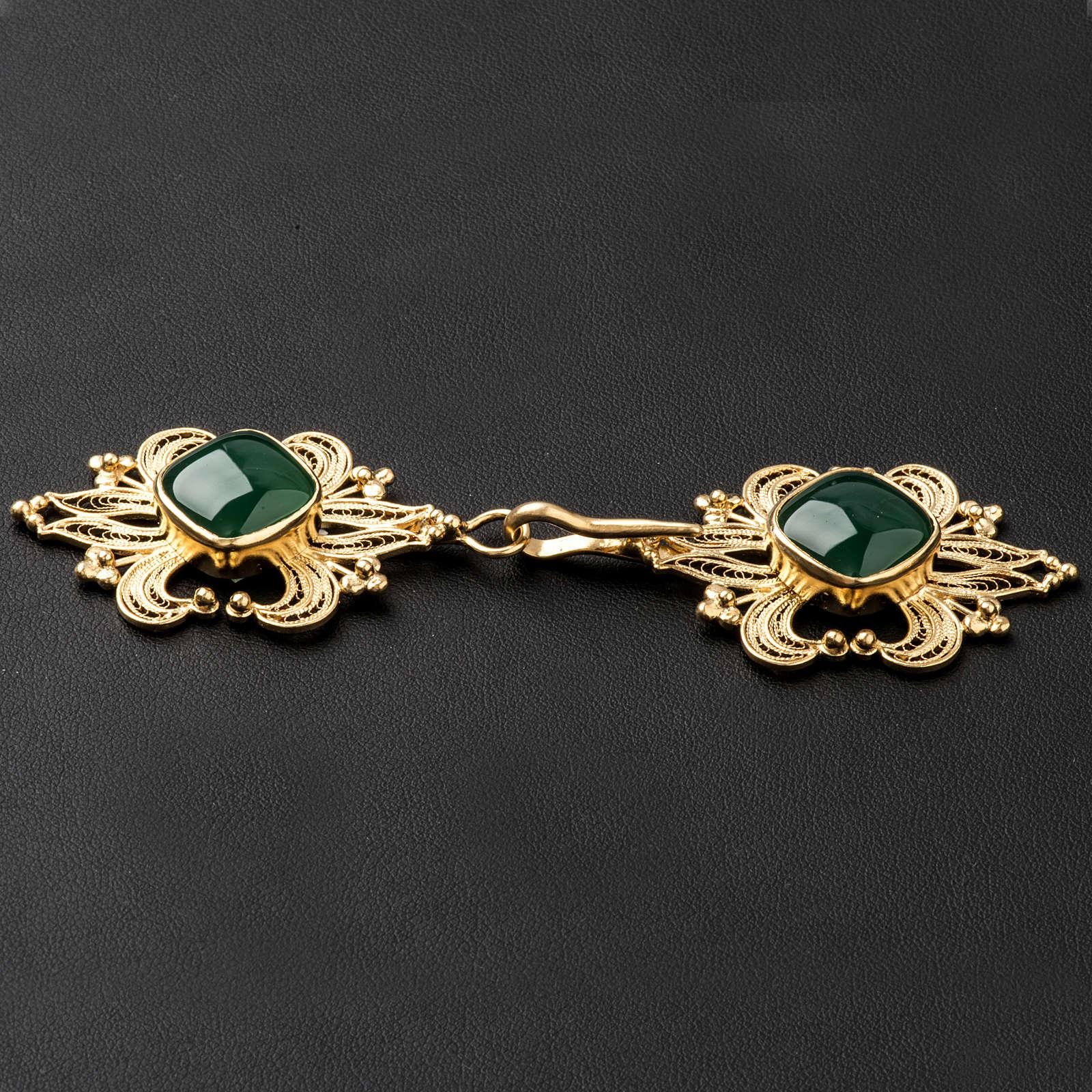 Zapięcie do kapy filigran srebra 800 złocone agat zielony 4