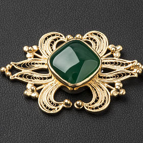 Zapięcie do kapy filigran srebra 800 złocone agat zielony s2