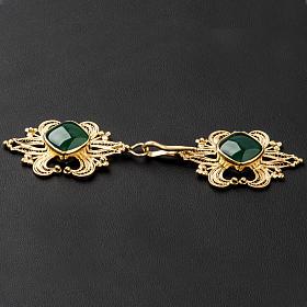 Zapięcie do kapy filigran srebra 800 złocone agat zielony s4