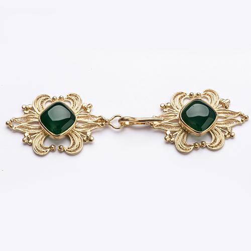 Zapięcie do kapy filigran srebra 800 złocone agat zielony 1