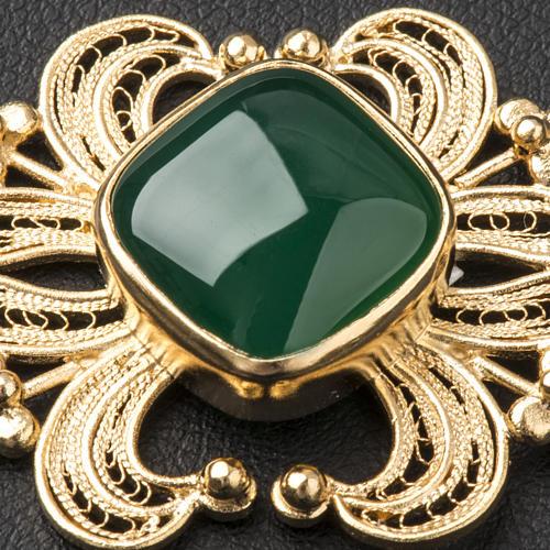 Zapięcie do kapy filigran srebra 800 złocone agat zielony 3