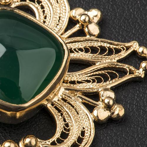 Zapięcie do kapy filigran srebra 800 złocone agat zielony 5