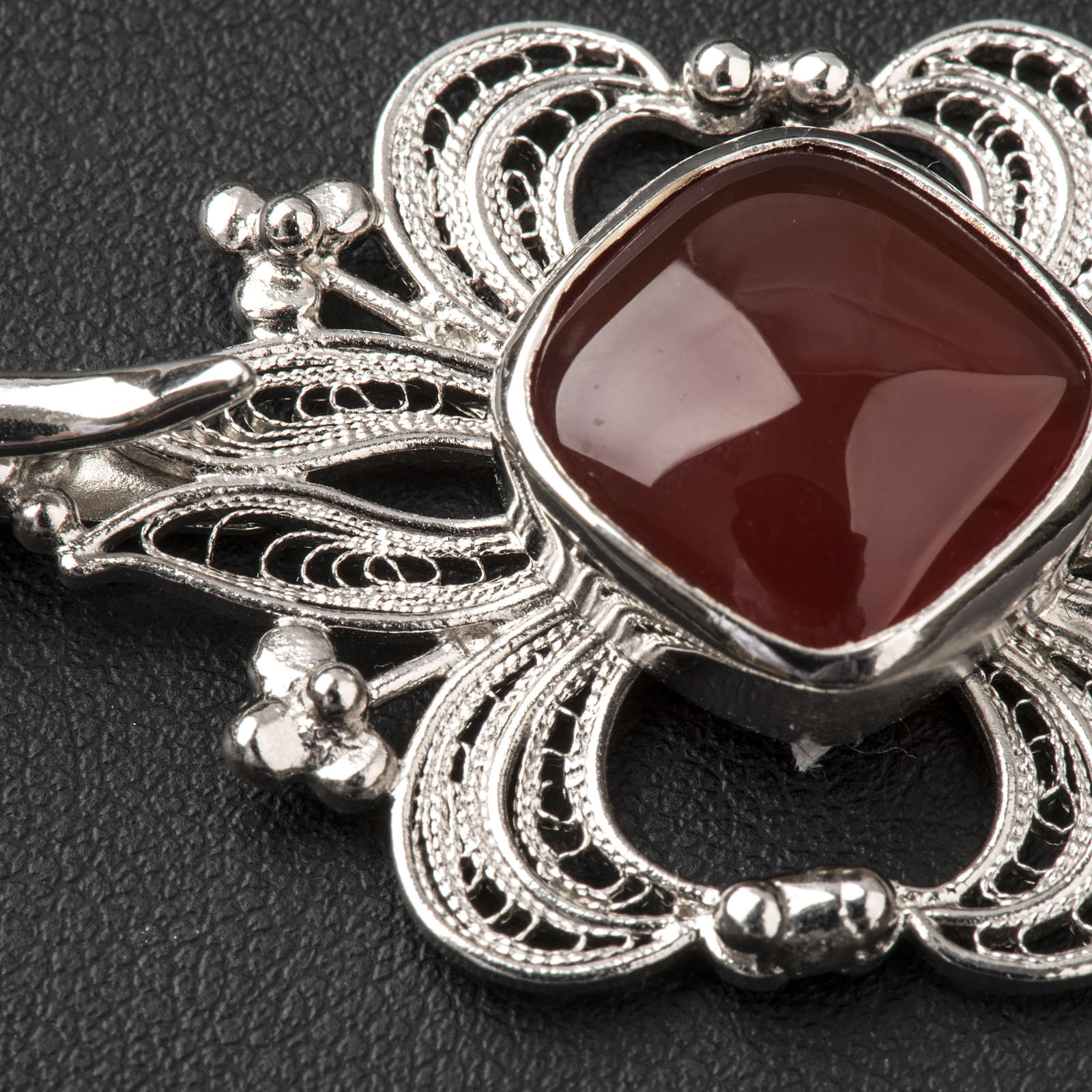 Cope Clasp in silver 800 filigree with carnelian stone 4
