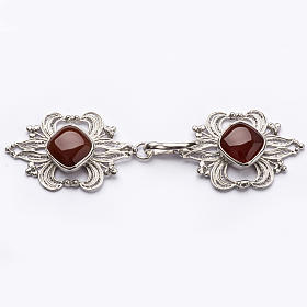 Cope Clasp in silver 800 filigree with carnelian stone s1