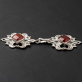 Cope Clasp in silver 800 filigree with carnelian stone s3