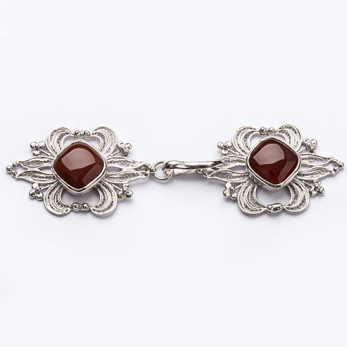 Cope Clasp in silver 800 filigree with carnelian stone 1