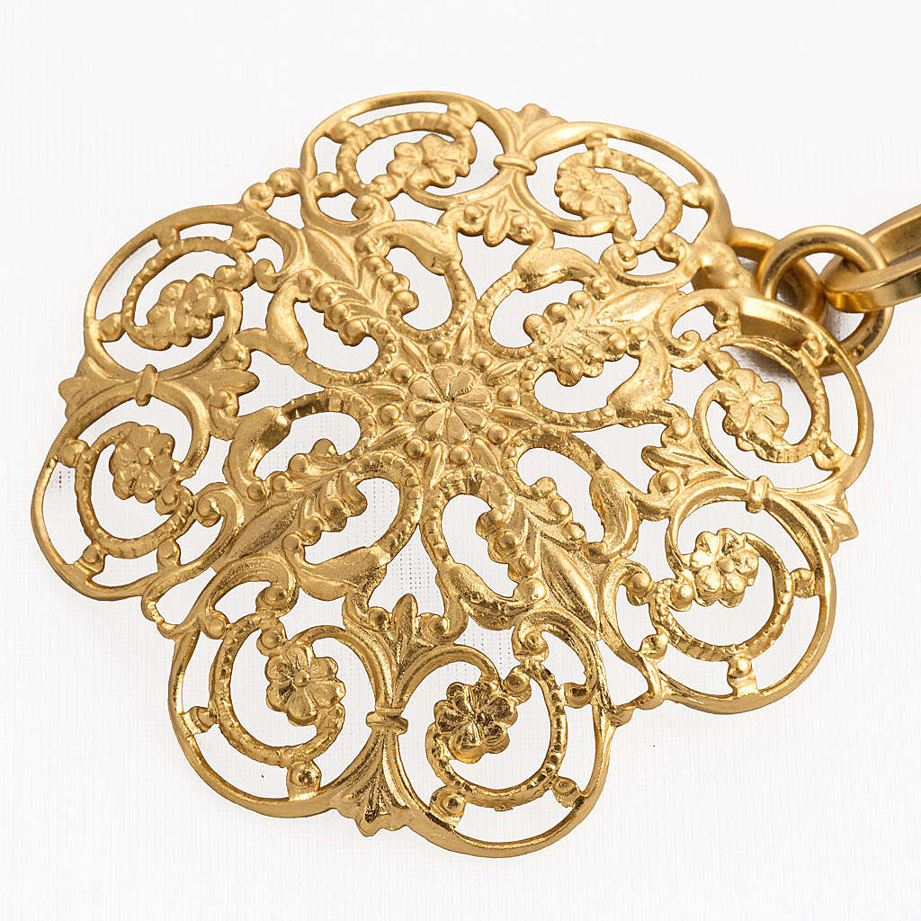 Cope clasp, gold-plated brass, round 4