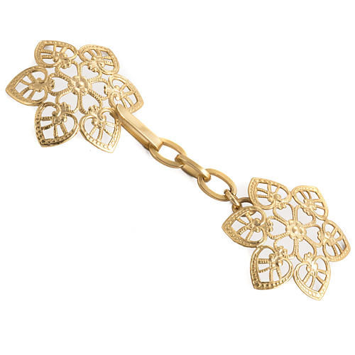 Cope clasp, gold-plated brass, hearts 1