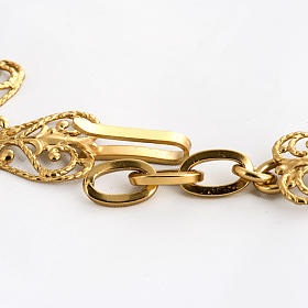 Cope clasp, gold-plated brass, cross with stone s3