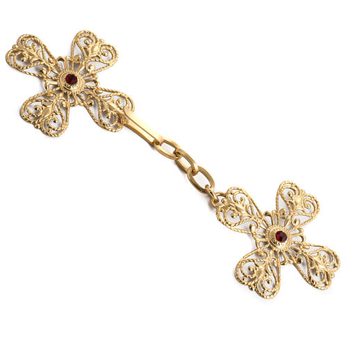 Cope clasp, gold-plated brass, cross with stone 1