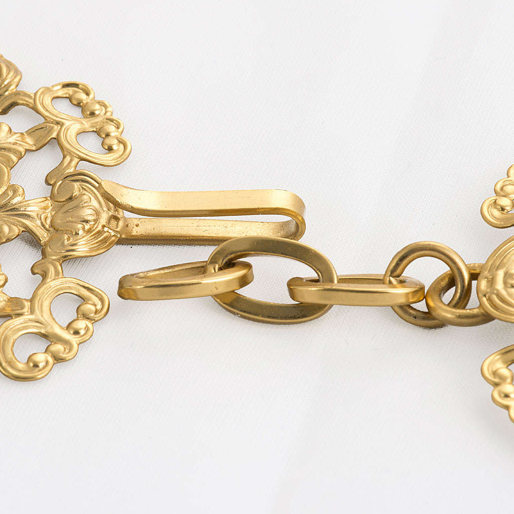 Cope clasp, gold-plated brass, round with red stone 4