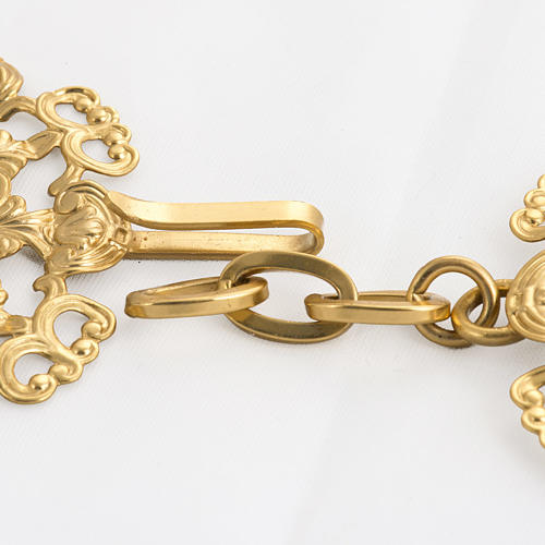 Cope clasp, gold-plated brass, round with red stone 3