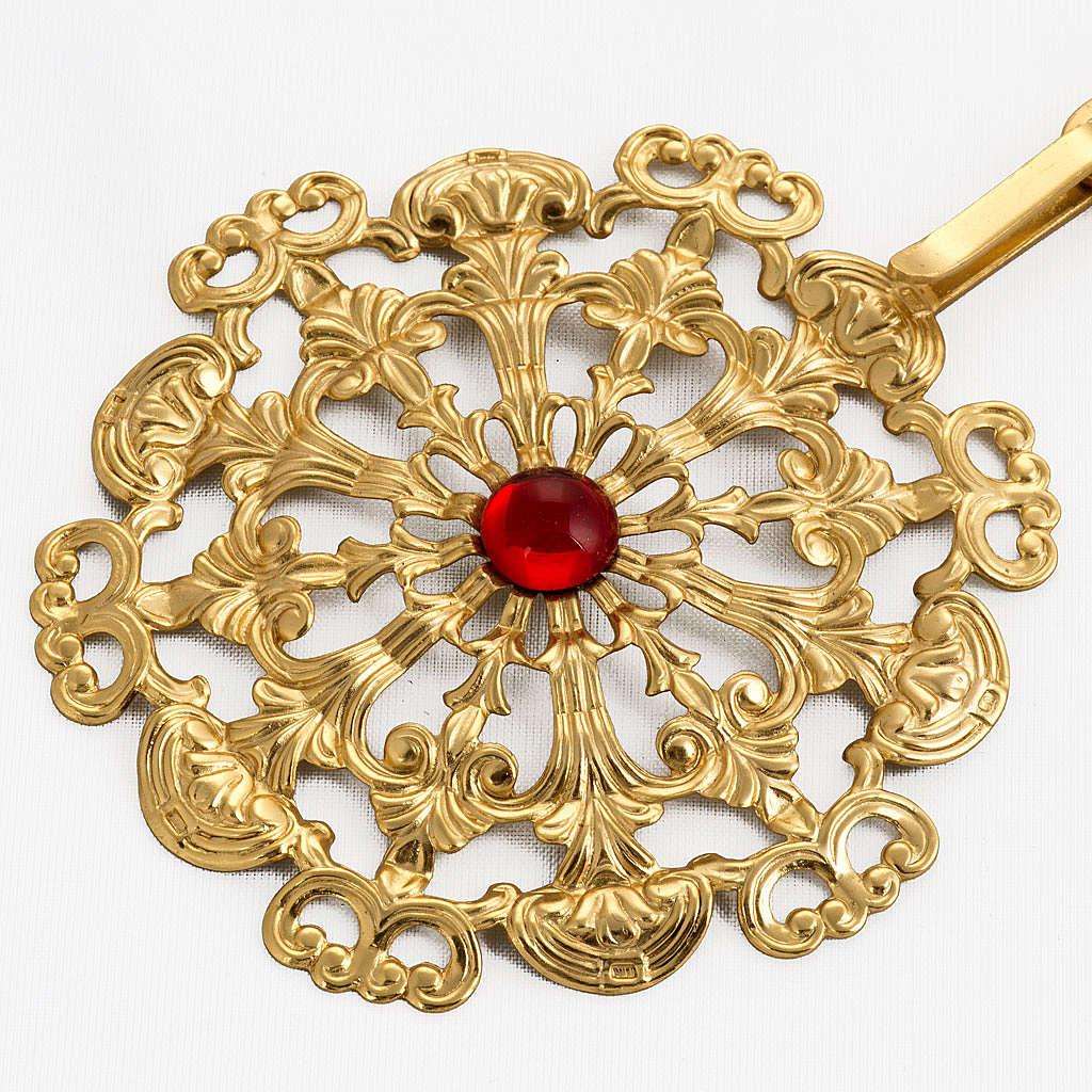 Gancio per piviale ottone dorato tondo pietra rossa 4