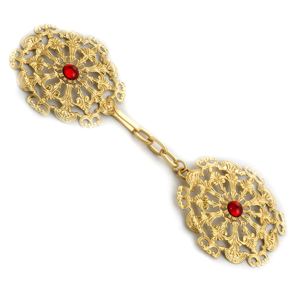 Cope Clasp Gold Plated Brass Round With Red Stone