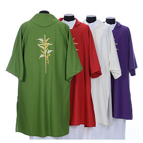 Dalmatic with embroidered ears of wheat and cross 100% polyester s2