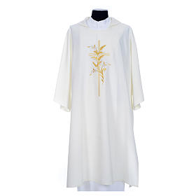 Dalmatic with embroidered ears of wheat and cross 100% polyester s7