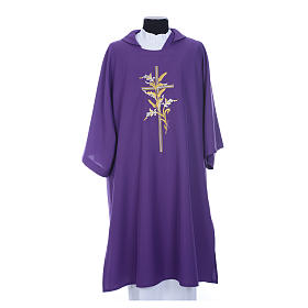 Dalmatic with embroidered ears of wheat and cross 100% polyester s8