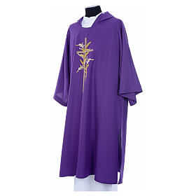 Dalmatic with embroidered ears of wheat and cross 100% polyester s10