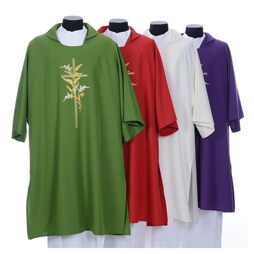 Dalmatic with embroidered ears of wheat and cross 100% polyester 1