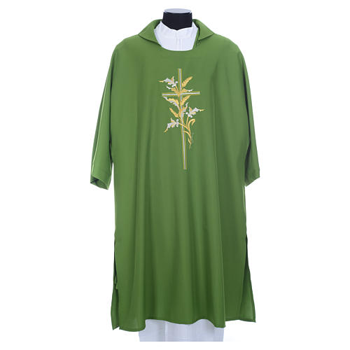 Dalmatic with embroidered ears of wheat and cross 100% polyester 3