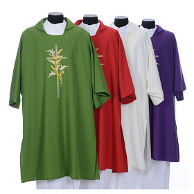 Copes, Roman Chasubles and Dalmatics: Catholic Deacon Dalmatic with embroidered ears of wheat and cross 100% polyester