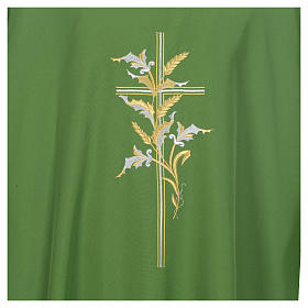 Dalmatic with embroidered ears of wheat and cross 100% polyester s4