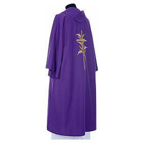 Dalmatic with embroidered ears of wheat and cross 100% polyester s11
