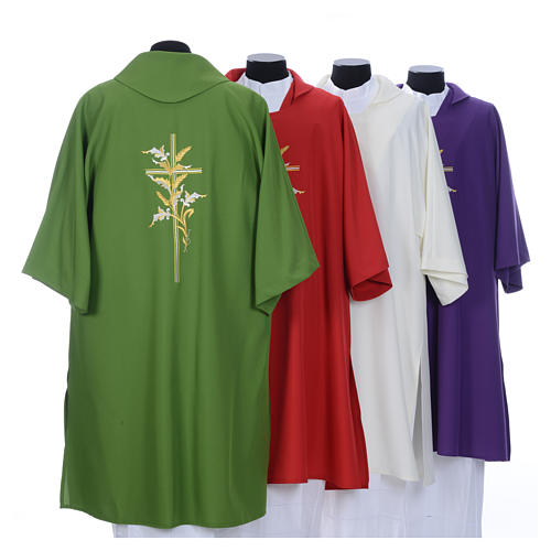Dalmatic with embroidered ears of wheat and cross 100% polyester 2