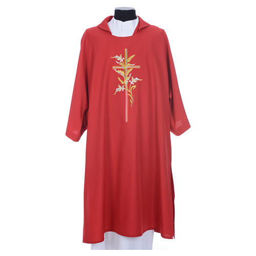 Dalmatic with embroidered ears of wheat and cross 100% polyester 5