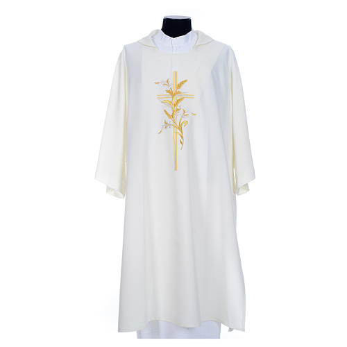 Dalmatic with embroidered ears of wheat and cross 100% polyester 7