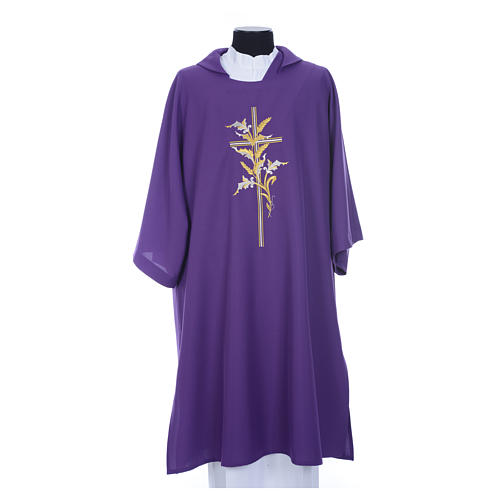 Dalmatic with embroidered ears of wheat and cross 100% polyester 8