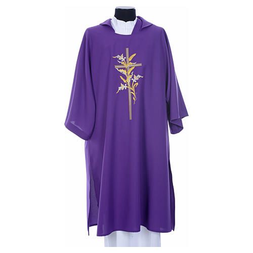 Dalmatic with embroidered ears of wheat and cross 100% polyester 9