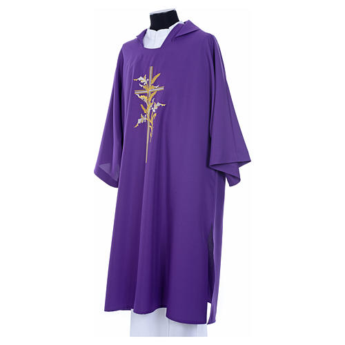 Dalmatic with embroidered ears of wheat and cross 100% polyester 10