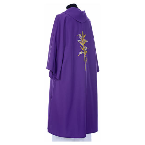 Dalmatic with embroidered ears of wheat and cross 100% polyester 11