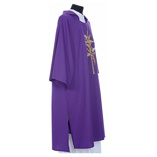 Dalmatic with embroidered ears of wheat and cross 100% polyester 12
