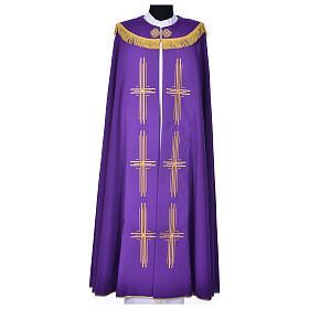 Cope in polyester with 6 crosses embroidery s2