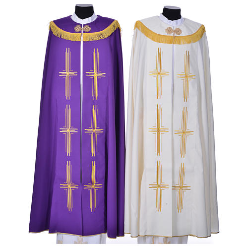 Cope in polyester with 6 crosses embroidery 1