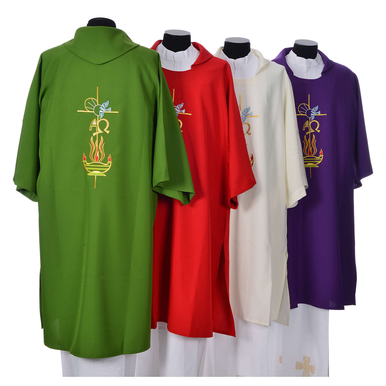 Dalmatic with embroidered flame, alpha and omega 100% polyester 4