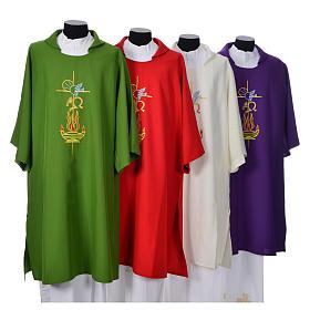 Piviali, pianete liturgiche, dalmatiche: Dalmatica 100% poliestere croce alfa omega fiamma