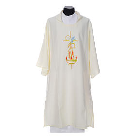 Deacon Dalmatic with embroidered flame, alpha and omega 100% polyester s4